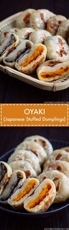 Oyaki (Japanese Stuffed Dumplings) Stuffed with sweet kabocha squash and miso-glazed eggplant, these Oyaki Japanese dumplings are a popular snack in Nagano Prefecture in central Japan. Easy Japanese Recipes, Japanese Food, Asian Recipes, French Recipes, English Recipes, Vietnamese Recipes, Chinese Recipes, Mexican Recipes, Stuffed Dumplings