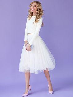 White tulle skirt White tutu skirt Tea-length by NewLovelySkirt-$87.00+-Assorted Colors