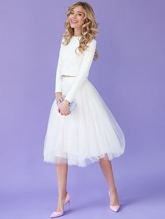 White tulle skirt White tutu skirt Tea-length by NewLovelySkirt-$87.00+-Assorted Colors