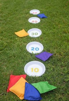 How to make a unique bean bag toss game from terra cotta pot saucers and a… games DIY Bean Bag Toss: the Best Outdoor Games! How to make a unique bean bag toss game from terra cotta pot saucers and a… games DIY Bean Bag Toss: the Best Outdoor Games! Diy Bean Bag, Bean Bag Storage, Bean Bag Games, Fun Outdoor Games, Outdoor Toys, Party Outdoor, Outdoor Games For Kids, Outside Games For Kids, Outdoor Crafts