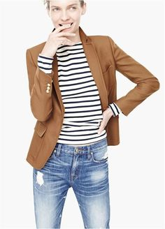 Love this JCrew outfit - love Camel blazer, navy and white striped long sleeve tee and distressed denim Outfits Damen, Blazer Outfits, Casual Outfits, J Crew Outfits, Blazer Dress, Striped Shirt Outfits, Emo Outfits, Blazer Fashion, Casual Shirt