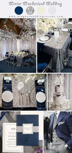 sparkly silver and navy blue wonderland theme winter wedding colors wedding decorations Glimmering Winter Wonderland Wedding Ideas in shades of Silver and Blue Navy Blue Wedding Theme, Blue Silver Weddings, Silver Wedding Decorations, Wedding Themes, Wedding Ideas, Wedding Gifts, Wedding Locations, Wedding Inspiration, Blue And Silver