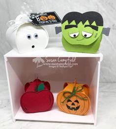 Four Adorable Mini Curvy Keepsake Boxes Halloween Treat Holders, Halloween Tags, Halloween Projects, Halloween Stuff, Boxed Christmas Cards, Handmade Christmas, Alcohol Ink Crafts, Altered Boxes, Pillow Box