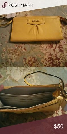 Coach wallet  style wristlet Yellow wallet style wristlet. Brand new with tags. Coach Bags Clutches & Wristlets