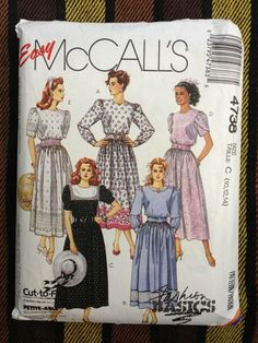 Vintage 90's McCall's 4738 Sewing Pattern Misses' Dress and Belt Size C 10 - 14