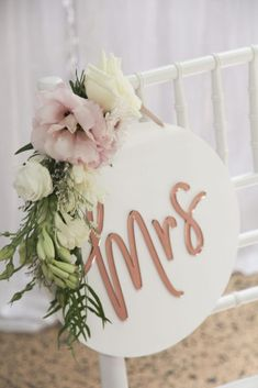 Acrylic Mr & Mrs Chair signs in white and rose gold with floral flourish. Easel, Mr Mrs, Flourish, Compliments, Wedding Styles, Brides, Boards, Rose Gold, Table Decorations