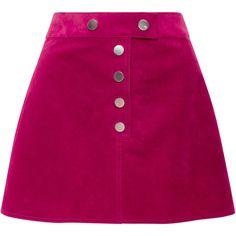 Courrèges Fushia Suede Mini Skirt ($1,320) ❤ liked on Polyvore featuring skirts, mini skirts, bottoms, pink, pink mini skirt, suede mini skirt, pink skirt, short mini skirts and purple mini skirt