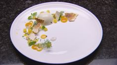 Masterchef, Reynold Poernomo's coconut panna cotta with passion fruit curd and mango jelly Kokos Panna Cotta, Coconut Panna Cotta, Mango Jelly, Delicious Desserts, Dessert Recipes, Cold Desserts, Passion Fruit Curd, Masterchef Recipes, Masterchef Australia
