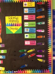 Colorful helpers job chart, crayon theme, velcro student names. Image only. Preschool Classroom Jobs, Crayon Themed Classroom, Kindergarten Jobs, Head Start Classroom, School Age Activities, New Classroom, Classroom Themes, Preschool Helper Chart, Classroom Helper Chart