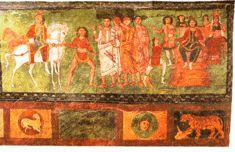 Mordejai conducido por Amán. Pinturas de la Sinagoga de Dura Europos, 244 E.C. Museo de Damasco, Siria.
