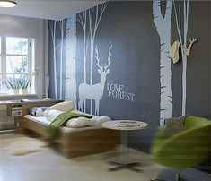 Items similar to Tree wall decals mural vinyl Forest fawn wall decal - deer in Forest vinyl wall decals -Removable decorative wall stickers TV setting decals on Etsy