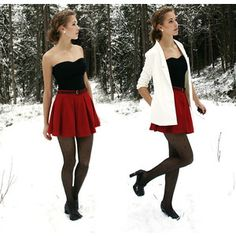 white blazer, red skirt, black top and tights outfit; perfect for Christmas