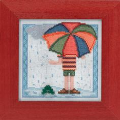 RAINY DAY (MH14-4104) Kit Includes: Mill Hill Glass Beads, Ceramic Button, 14ct Perforated Paper, floss, needles, and chart. *frame sold separately*
