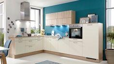 Culineo Einbauküche in L-Form | Kunstststoffoberflächen Magnolia & Sonoma Eiche | Korpus Kunststoffdekor Sonoma Eiche #küche #kitchen #new