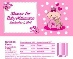 Baby Shower Candy Bar Wrapper Favor 2009 Pink