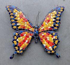 wanddecoratie 23 cm vlinder mozaiek 29957