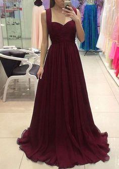 Burgundy chiffon long prom dress, burgundy evening dress, burgundy bridesmaid dress
