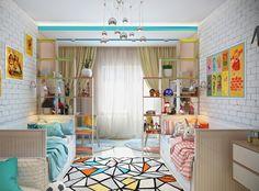 Яркая и светлая комната для двоих детей.