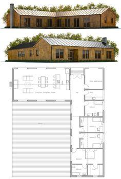 Plan de maison plein pied en v maison pinterest bbc for V shaped living room