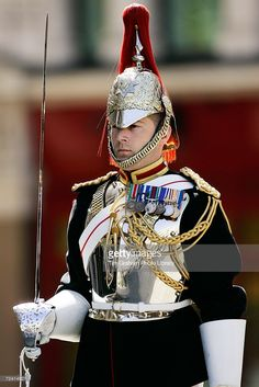 Soldier of the Blues and Royals Regiment on guard duty in London, United Kingdom.