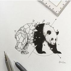 Panda more animal drawings, art drawings, geometric animal, geometric d Geometric Tatoos, Geometric Tattoo Panda, Geometric Drawing, Geometric Art, Geometric Animal, Geometric Designs, Animal Drawings, Art Drawings, Drawing Animals