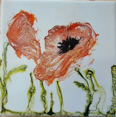 Encaustic and alcohol ink abtract poppies, by @renaissancecreative