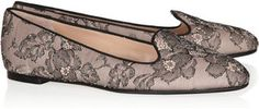 Valentino Embellished Lace and Leather Loafers Profile Photo
