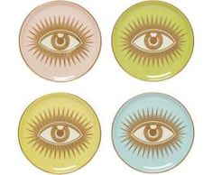 Jonathan Adler Le Wink Coaster Set of 4 – Paynes Gray Jonathan Adler, Verre Design, Futuristic Furniture, All About Eyes, Coaster Set, Modern Chairs, Cleaning Wipes, Tablescapes, Designer