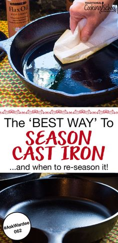 Cast iron is my top pick for non-stick cooking. It's easy to care for your cast iron, too. Watch, listen, or read for my tips on the BEST cast iron seasoning, plus how to know when to re-season… Season Cast Iron Skillet, Cast Iron Skillet Cooking, Iron Skillet Recipes, Cast Iron Recipes, Rusted Cast Iron Skillet, Lodge Cast Iron Skillet, Cooking With Cast Iron, Skillet Food, Cast Iron Care