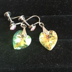 Aurora Borealis Heart Earrings Photos can't begin to capture the way light explodes from these earrings. For both pierced or non pierced ears. Posts have a matching crystal. These are brilliant! Vintage Jewelry Earrings