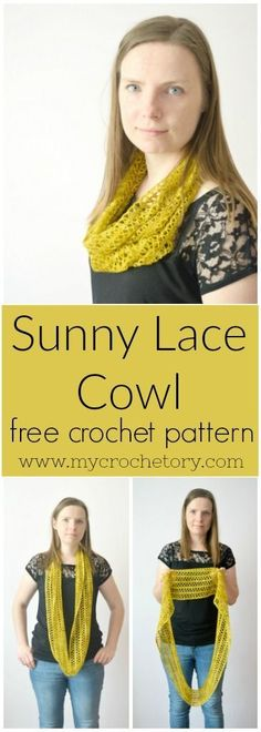Light and airy, a great beginner lace crochet project that is simple to memorize and quick to finish. Treat yourself to a bit of luxury with an elegant crochet Sunny Lace Cowl. Made with one hank of yarn, it makes a great gift for your loved ones. Free crochet pattern on the blog www.mycrochetory.com #crochet #diy #crochetpattern #freecrochetpattern #lace #summer #infinityscarf #cowl #easy #beginner