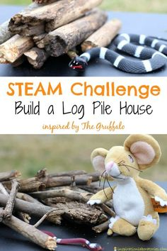 Set up a STEAM Building Challenge inspired by The Gruffalo by Julia Donaldson Check out all the 28 Days of STEAM Projects for Kids for fun science, technology, engineering, art, and math activities! Gruffalo Eyfs, Gruffalo Activities, Gruffalo Party, The Gruffalo, Steam Activities, Science Activities, Gruffalo Trail, Autumn Eyfs Activities, Animal Activities For Kids
