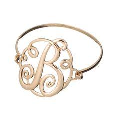 Monogram Filigree Designer Gold-tone Wire Bracelet by Jewelry Nexus #designerjewelry
