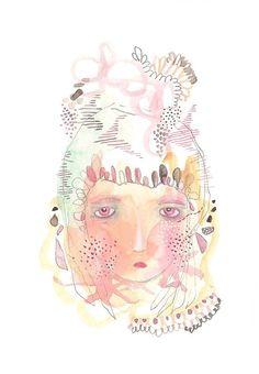 Girl portrait print abstract girl decor modern art by Coramantic