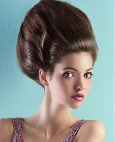 A long brown straight updo beehive hairstyle by Web Collections