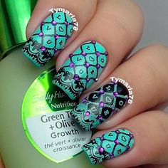 Stamping Nail Art.  Absolutely lovely!