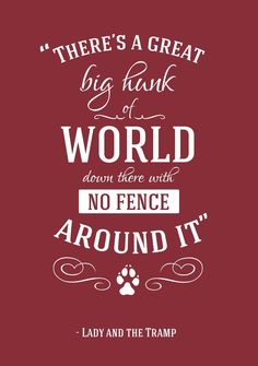 """""""There's a great big hunk of a World down there with NO FENCE ... """" - Lady and the Tramp"""