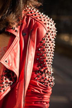 Red-orange leather jacket with studds