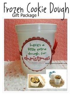 Freebie   Fun neighbor Christmas gift-Give a treat that can be eaten after Christmas-Homemade Frozen Cookie Dough gift package-Free Tags and Tutorial