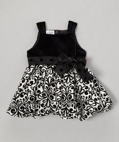 Mud Pie Black & White Damask Party Dress - Infant | zulily