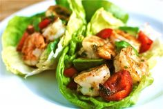 Spicy Shrimp and Avocado Lettuce Cups.