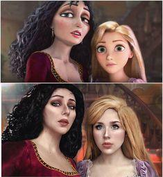 Gothel and Rapunzel realistic art Cute Cosplay, Amazing Cosplay, Cosplay Outfits, Best Cosplay, Cosplay Costumes, Disney Princess Drawings, Disney Princess Art, Disney Princess Pictures, Disney Art