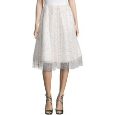 Alice + Olivia Catrina Embellished A-Line Skirt ($698) ❤ liked on Polyvore featuring skirts, ivory, ivory skirt, alice olivia skirt, knee length a line skirt, cream skirt and white skirt