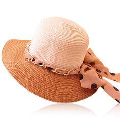 Cute Dot Pattern Chiffon Bowknot Sun Hat For Women