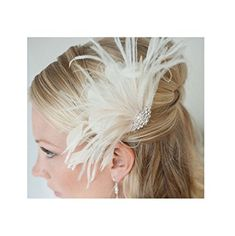 SE Womens Elegant Vintage Feather Bridal Fascinator Wedding Hair Accessory Headpieces >>> See this great product.