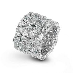 Platinum Band Ring with Fancy-cut Diamonds by Chopard