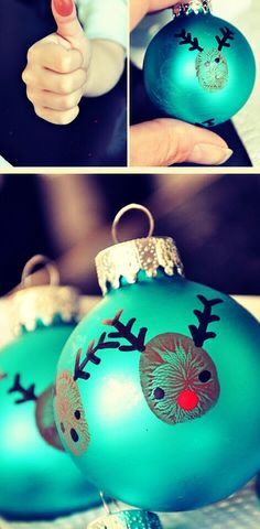 DIY Thumbprint Reindeer Kids Ornament Great for the kids' cookie decorating party!