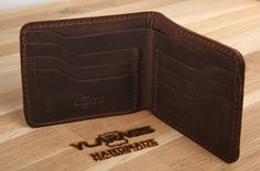 Slim brown leather wallet, Minimalist pocket wallet, Card and cash wallet, Small travel wallet by YLARAGIS on Etsy