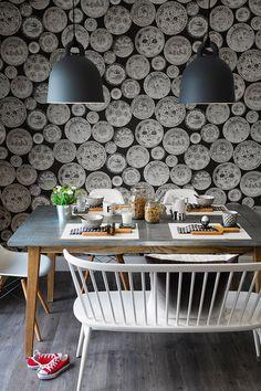Papel de parede traz ilusão divertida e elegante