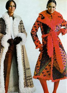 Shearling emboidered Afghan coats Vogue 1971 Lynn Woodruff and Karen Graham by Penati